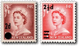 1958 Queen Elizabeth II Overprints
