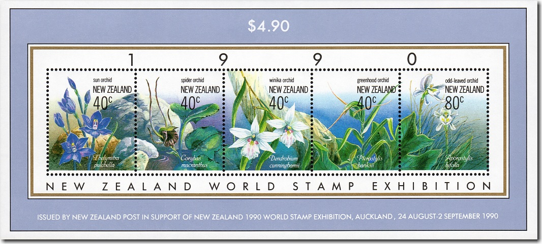 1990 New Zealand World Stamp Exhibition Native Orchids