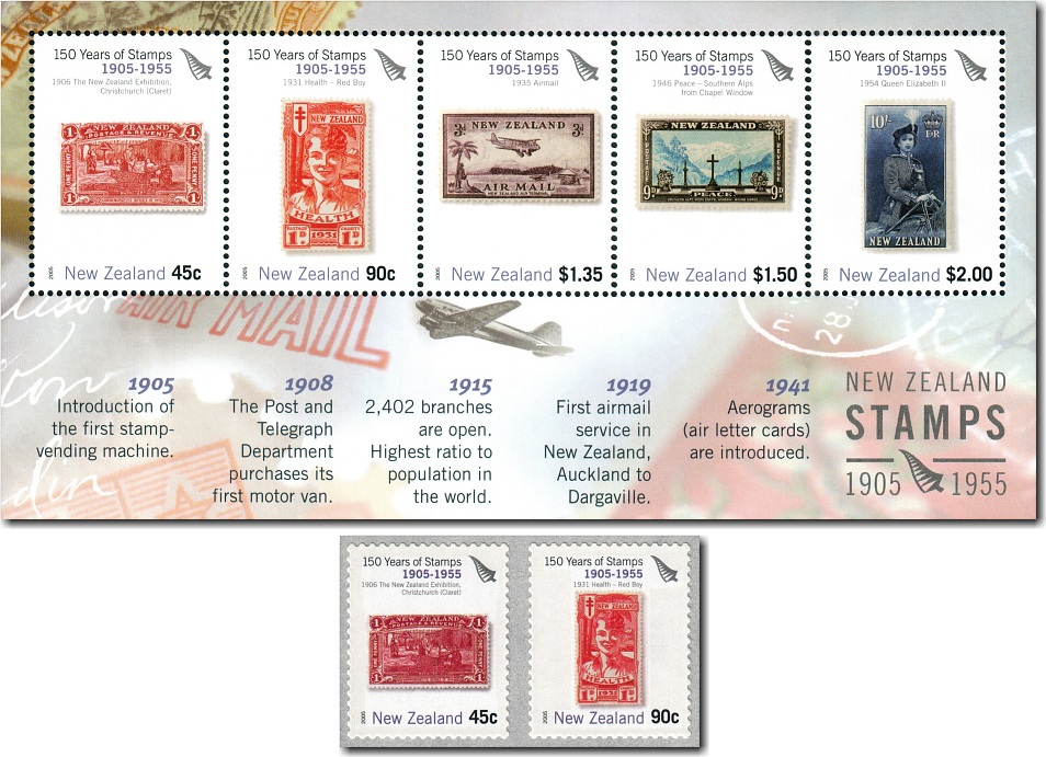 2005 150 Years of Stamps 1905 - 1955